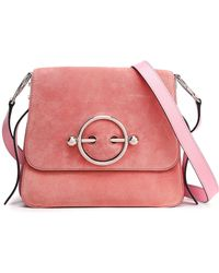 12f786b1765 JW Anderson - Woman Suede And Leather Shoulder Bag Pink - Lyst
