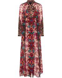 Anna Sui - Satin-paneled Floral-print Georgette Midi Dress - Lyst