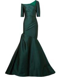 Monique Lhuillier - Woman One-shoulder Ruched Duchesse-satin Gown Emerald Size 6 - Lyst