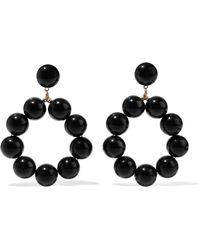 Kenneth Jay Lane - Gold W/ Black Balls Hoop Pierced Earrings (black) Earring - Lyst
