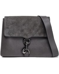 Rebecca Minkoff - Woman Mab Suede-paneled Leather Shoulder Bag Dark Grey - Lyst