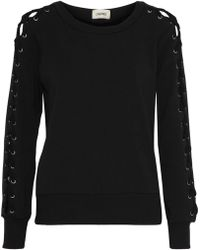 L'Agence - Mirana Lace-up Fleece Sweatshirt - Lyst