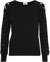 L'Agence - Woman Mirana Lace-up Fleece Sweatshirt Black - Lyst