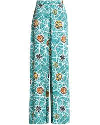 Stella Jean - Woman Pleated Printed Crepe Wide-leg Trousers Turquoise - Lyst
