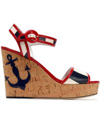 Dolce & Gabbana - Appliquéd Striped Faux Patent-leather And Cork Wedge Sandals - Lyst