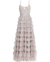 Needle & Thread Marie Tiered Embellished Tulle Gown Neutral