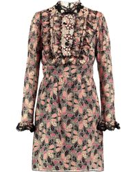 Anna Sui - Lace-trimmed Ruffled Printed Cotton-blend Mini Dress - Lyst