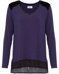 DKNY - Woman Chiffon And Velvet-paneled Jersey Pajama Top Dark Purple - Lyst