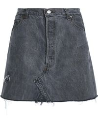 Levi's - Frayed Distressed Denim Mini Skirt - Lyst