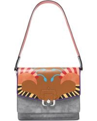 Paula Cademartori - Paneled Suede And Printed Leather Shoulder Bag - Lyst