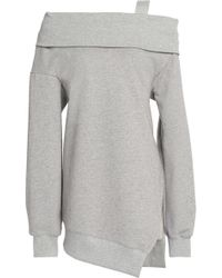 Goen.J - Asymmetric Mélange Cotton-jersey Sweatshirt Light Gray - Lyst