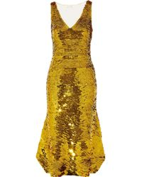 Oscar de la Renta - Sequined Silk-blend Organza Midi Dress - Lyst