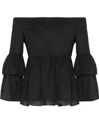 Rachel Zoe - Charlotte Off-the-shoulder Cotton-blend Faille And Silk-satin Top - Lyst