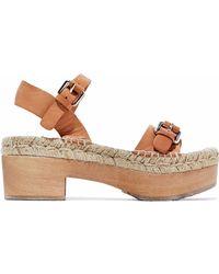 Paloma Barceló - Buckled Leather Platform Sandals - Lyst