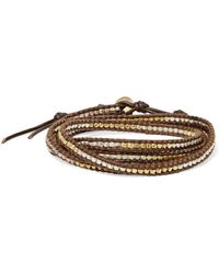 Chan Luu - Leather And Cord Gold-plated Beaded Wrap Bracelet - Lyst