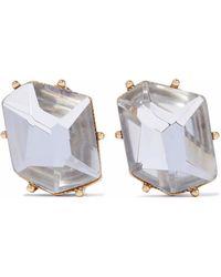 Kenneth Jay Lane - Gold-tone Crystal Clip Earrings - Lyst