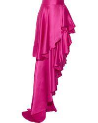 Michael Lo Sordo - Asymmetric Ruffled Silk-satin Maxi Skirt - Lyst