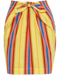 Moschino - Tie-front Striped Cotton-blend Twill Mini Skirt - Lyst