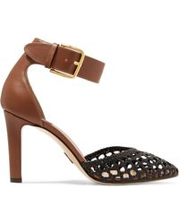 Paul Andrew - Ragnar Smooth And Woven Leather Pumps - Lyst