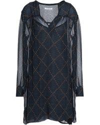 Étoile Isabel Marant - Printed Crinkled Georgette Mini Dress Midnight Blue - Lyst