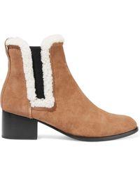 Rag & Bone Walker Shearling-trimmed Suede Ankle Boots Tan
