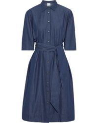 9089b68723b Iris   Ink - Woman Rosie Belted Cotton-chambray Shirt Dress Blue - Lyst