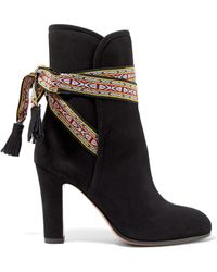 Etro - Embroidered-trimmed Suede Ankle Boots - Lyst