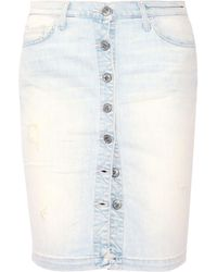 Current/Elliott | The Dotty Distressed Stretch-denim Skirt | Lyst