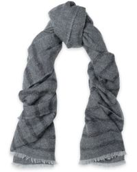 Brunello Cucinelli - Metallic Striped Knitted Scarf - Lyst