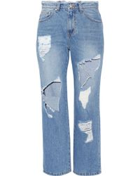 SJYP - Cropped Distressed High-rise Straight-leg Jeans - Lyst