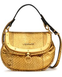 a18bdacc3488 Versace - Woman Metallic Watersnake Shoulder Bag Gold - Lyst