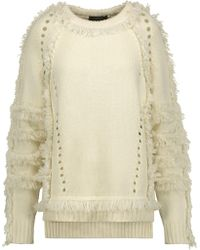 Belstaff - Woman Karli Fringed Wool, Silk And Cashmere-blend Jumper Ecru - Lyst