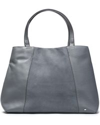 448c4d56f8 Halston - Woman Suede-paneled Textured-leather Tote Gray - Lyst