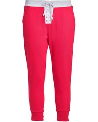 Zoe Karssen - Woman Lace-up French Cotton-terry Track Pants Red - Lyst