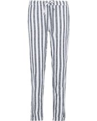 Onia - Woman Ella Striped Linen And Cotton-blend Straight-leg Pants Navy - Lyst