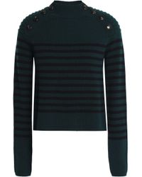 Autumn Cashmere - Button-detailed Striped Wool Sweater - Lyst