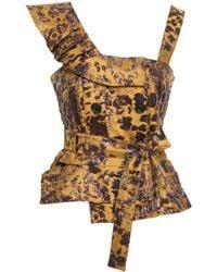 Marissa Webb - Belted Ruffled Brocade Top Multicolour - Lyst