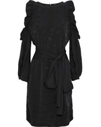 Maje - Cold-shoulder Ruffled Metallic Satin-jacquard Dress - Lyst