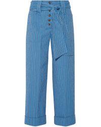 Tory Burch - Woman Robin Pinstriped Cotton-blend Seersucker Culottes Blue - Lyst