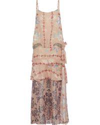 Anna Sui - Woman Layered Printed Fil Coupé Silk-blend Midi Dress Blush - Lyst
