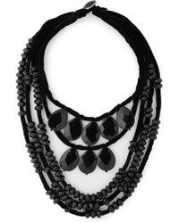 Tory Burch - Woman Velvet Bead Necklace Black - Lyst