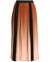 Maje - Woman Pleated Dégradé Crepe Midi Skirt Light Brown - Lyst