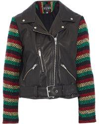 VEDA - Lion Tweed-paneled Leather Biker Jacket - Lyst