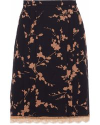 Michael Kors - Layered Floral-print Silk And Corded Lace Skirt - Lyst
