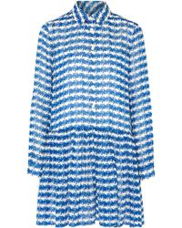 Opening Ceremony   Pleated Printed Silk-georgette Mini Dress Bright Blue   Lyst