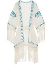 Melissa Odabash - Woman Dana Embroidered Voile Coverup White - Lyst