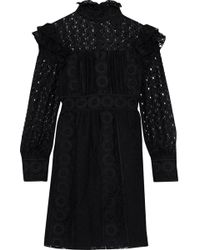 Anna Sui - Woman Ruffled Embroidered Cotton-blend Tulle And Guipure Lace Mini Dress Black - Lyst