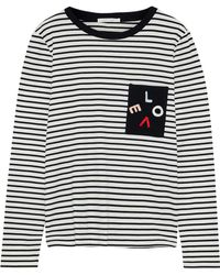 Chinti & Parker - Embroidered Striped Cotton-jersey Top Ivory - Lyst