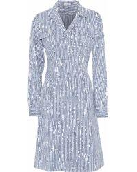 Tomas Maier - Printed Cotton-blend Poplin Dress Storm Blue - Lyst