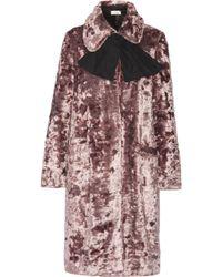 Isa Arfen - Crushed-velvet Coat Antique Rose - Lyst